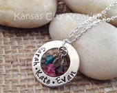 Personalized Hand-Stamped Mom Necklace with Children's Names and Swarovski Birthstones - Mother's Day Gift - Kansas City Kreations