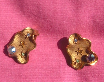 Gold Clip Earrings- 1960's Napier Deco