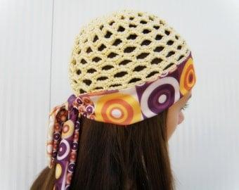 CROCHET HAT summer women beanie GATSBY knit hat hippie headband summer fabric hat lace cap summer skull cap yellow lilac purple