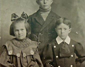Vintage / Antique Photograph of Three Children / Cabinet Photo / Paper Ephemera / Mixed Media / Blogging