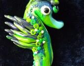 Seahorse Ornament Handmade Polymer Clay, Mixed Media