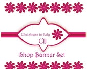 Christmas in July CIJ Shop Banner - Your Shop Banner And Matching Avatar - Etsy Shop Banners - Dark Pink Flowers