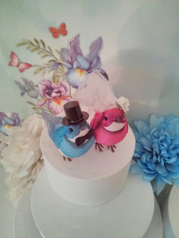 blue love birds wedding cake topper pink and blue wedding birds cake topper 11994