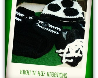 Baby's Crocheted Soccer  Beanie, Diaper Cover and Boots Set