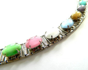 Sarah Cov Party Pastels Bracelet Vintage Modern Moonglow Cabochon Pastel Rainbow Glow 1960's Collectible Jewelry