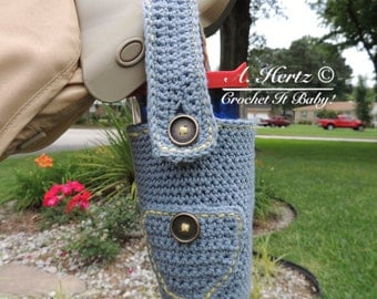 Crochet Denim Cup Holder with Adjustable Strap - PATTERN ONLY