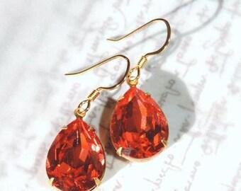 Elegant Light Siam Swarovski Crystal Pear Ear Drops