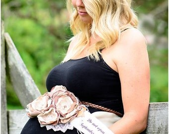 Vintage Sand Castle Maternity Sash (Neutral, tan, ivory, taupe, golden ivory, pearls, brown, suede leaves, lace, feathers)
