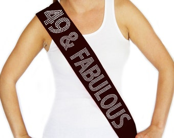 "Rhinestone ""49 & Fabulous"" Black Sash - Birthday Sash, It's My Birthday, Birthday Party, Birthday Girl, Girls Night Out"