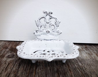 BOLD crisp snowy white business CARD HOLDER soap dish // ornate floral // bathroom office decor // victorian nautical shabby chic