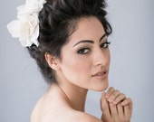 Bridal Flower Hair Comb with Ivory Silk Taffeta Gardenias