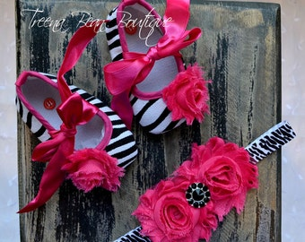 Hot Pink Zebra Baby Girl Shoes -Fancy Glamour Baby Crib Shoes-Baby Headband and Shoes-Newborn Baby Girl