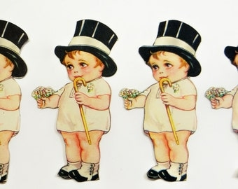 Vintage Kewpie Paper Scrap 1930's Wedding Die Cut - Set of Three