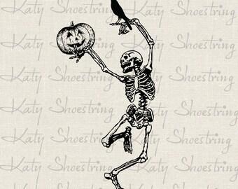 Dancing Skeleton Jack o Lantern Crow Halloween Digital Image Download Fabric Transfer Collage Sheet Burlap Iron On Tea Towels Totes Tags