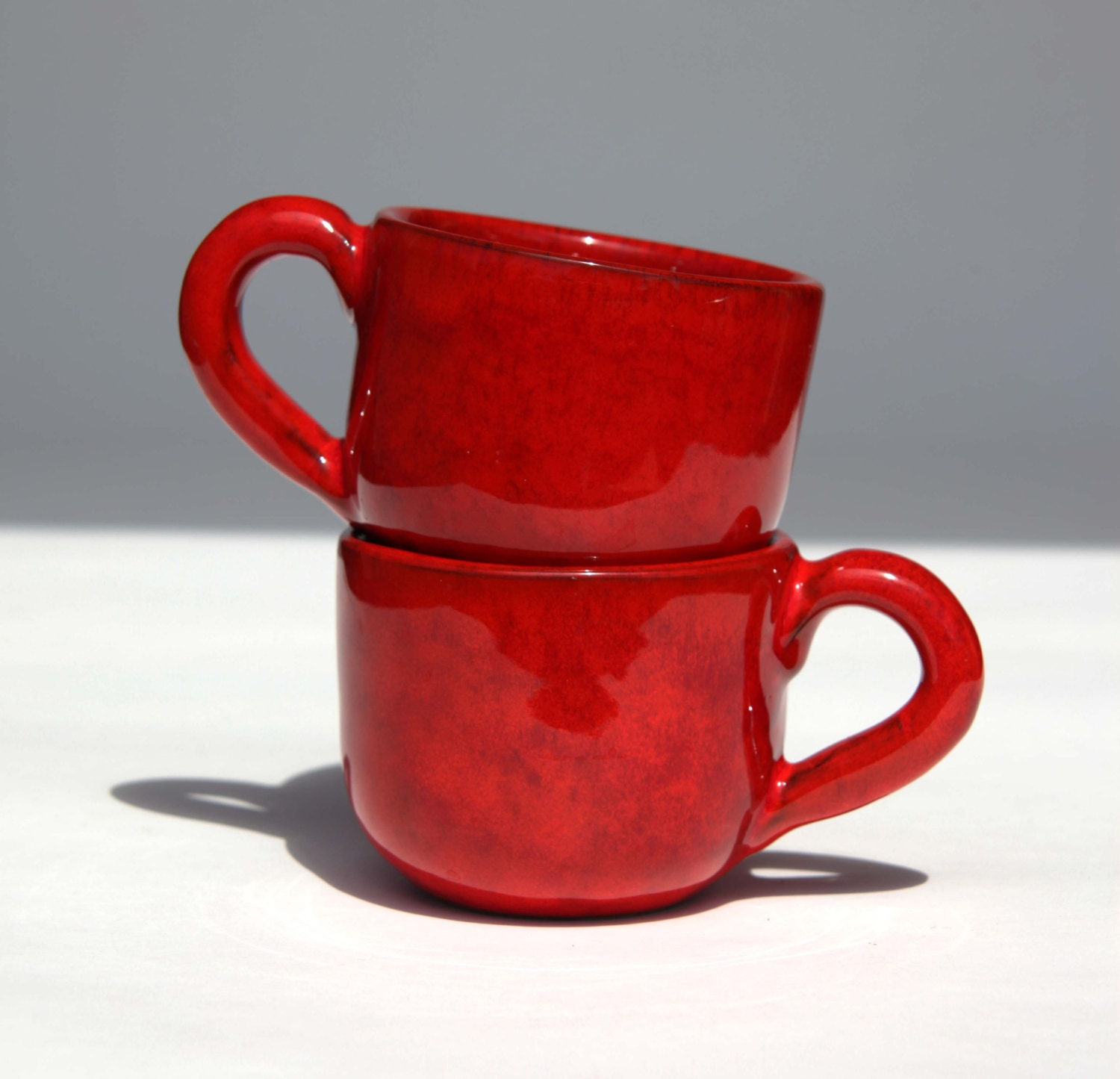 Set Of 2 Red Lava Pottery Mugs Italian Espresso Coffee Red