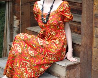 70's Batik Maxi Dress Indonesian Print