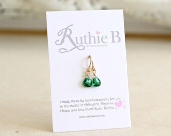 Emerald Earrings-Emerald Teardrop Earrings-May Birthstone Earrings-Small Emerald Earrings-Green Earrings-Emerald Drops-Green Teardrop