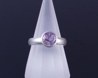 Light Amethyst 7mm Round Bezel Sterling Silver Comfort Fit Ring