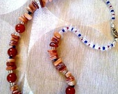 Bogemian Necklace Pearl Natural Stones Honey, symbol, Jewelry Handmade, Beaded, Original Design and Handmade by Janna.