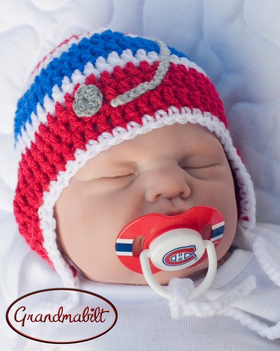 BABY BOYS HOCKEY Helmet Hat Crocheted in Canadian by ...