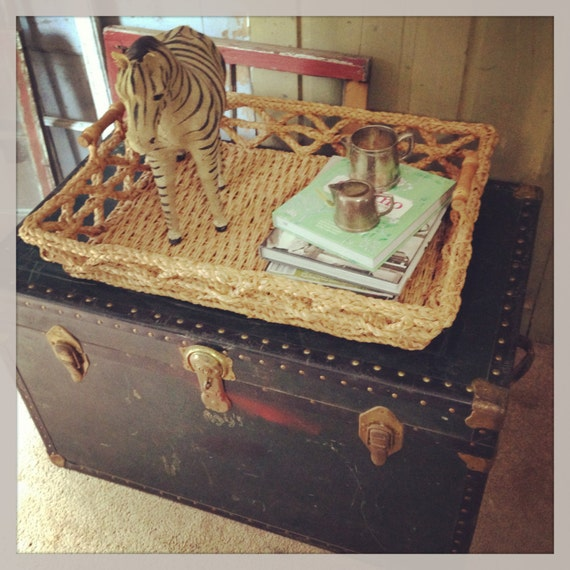 Vintage Coffee Table 1950s Steamer Trunk Storage Trunk