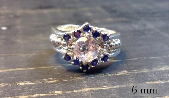 white sapphire wedding ring set sterling silver bead band wedding rings engagement ring - Birthstone Wedding Rings