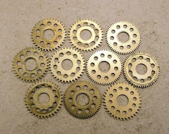 Small Brass Clock Gears - Steampunk Jewelry Findings - set of 10 - G123