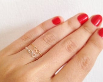 Set of 2 -14k gold filled and silver sterling, knuckle rings, tiny infinity ring, gold knuckle ring, knuckle ring, tiny ring, stackable ring