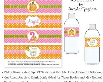Pumpkin Printable Water Bottle Label Drink Wrap-Pumpkin Party- Printable Pumpkin Water Bottle Labels-Pink Polka Dot Pumpkin Water Wraps-Fall