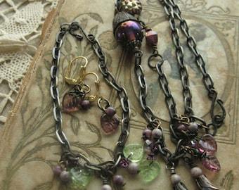 Purple Floral Bohemian Necklace, Earrings & Bracelet Set