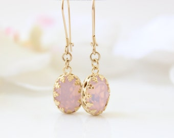 Rose opal earrings - Gold earrings set with pink opal Swarovski crystals, Gift for her
