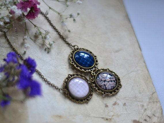 Statement necklace - Beige, Blue, Brown - Romantic jewelry