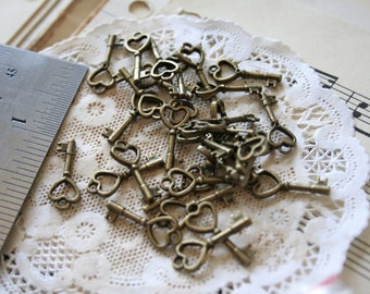 Tiny Antique Bronze Heart Keys with Loop