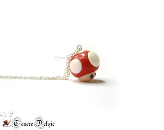 Super Mario inspired mushroom necklace -  polymer clay necklace