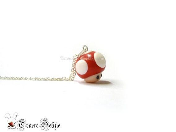 Super Mario inspired mushroom necklace -  polymer clay necklace