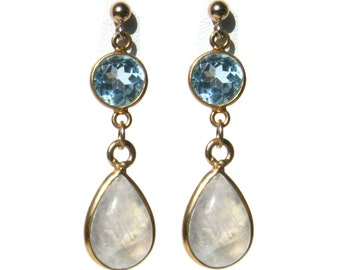 Blue Topaz and Rainbow Moonstone Teardrop Earrings with 14K Gold Posts
