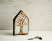 The Tree of Life Small Wooden House Hand Pained, Copper Mint Small Wooden Hand Made House Rustic Home Decor Ornament