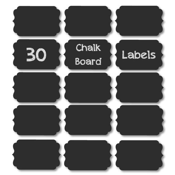 30 Chalk Board Labels 3in x 2in on adhesive vinyl