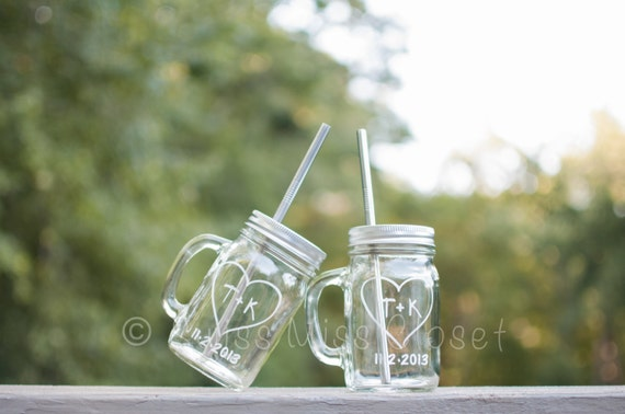 Custom Etched Set 2 Handled Mason Jar To Go Cup With Stainless Steel Straw 16oz Eco Friendly