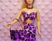 MyDollOutfits - Leopard Pants and Top. Purse, Necklace, Hair Band and Shoes. CHOOSE: Pants & Top only or Pants and Top with accessories.