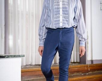 SALE % Dark blue linen trousers