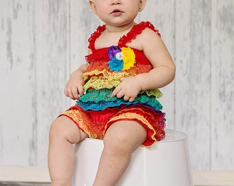 Romper Headband SET,  Rainbow petti Lace romper , baby headband  hair bow, outfit, pettiromper girl
