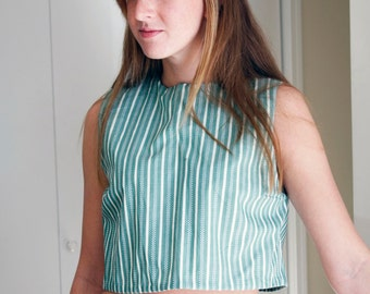 SALE Handmade Green and White Striped 100% Cotton Cropped Blouse with Back Closure