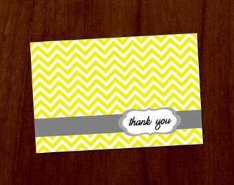 Yellow Chevron 4x6 Printable Thank You Card