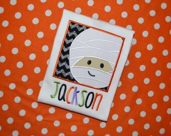 Personalized Soft-feel Halloween Mummy in a Box Appliqued Shirt or Onesie