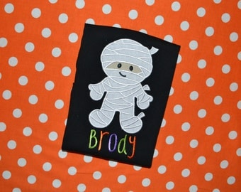 Personalized Soft-feel Halloween Mummy Appliqued Shirt or Onesie