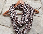 Leopard Print Brown Blend Skinny Infinity Scarf - Upcycle Pajama Pants Scarf