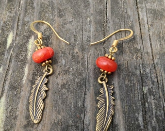 Coral + Brass Feather Earrings