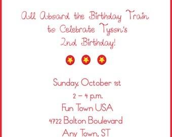 Circus Birthday Train Invitation