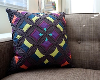 Modern Cathedral Window Pillow - The Cathedral - Notre Dame in Charcoal, Purple, and Chartreuse